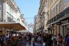 Rua Augusta with Praca do Comercio. Lisbon Stock Images