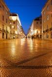 Rua Augusta Street at night in Lisbon Stock Image