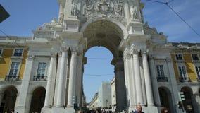 Rua Augusta Triumphal Arch stock footage