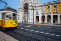 Rua Augusta triumphal arch at Commerce Square. Lisbon, Portugal Stock Images