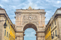 Rua Augusta triumphal arch at Commerce Square. Lisbon, Portugal Stock Image