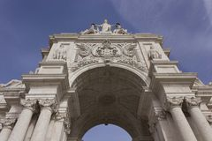 Rua Augusta Triumphal arch in Lisbon. Portugal. Architectural close up Royalty Free Stock Photo