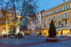 Rua central da cidade de Plovdiv, Bulgária Imagens de Stock Royalty Free