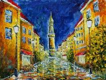 Rua chuvosa só da noite da pintura a óleo original foto de stock royalty free