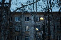 Rua cobbled estreita na cidade medieval velha com as casas iluminadas por lâmpadas de rua do vintage Tiro da noite fotos de stock