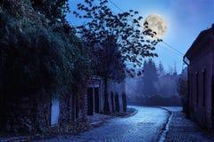 Rua Cobbled na noite na cidade velha Fotografia de Stock Royalty Free