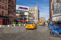 Rua Cobbled no distrito do Meatpacking Imagens de Stock Royalty Free