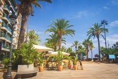Rua com as árvores de palmas na margem em Lloret de Mar no dia de verão claro ensolarado Lloret De março, costela Brava, Spain imagens de stock