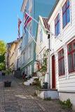 Rua com as casas de madeira velhas Foto de Stock Royalty Free