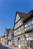 A rua com metade suportou casas em Hoxter Imagem de Stock