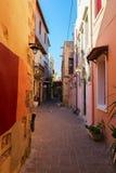 Rua confortável de Chania, Creta, Grécia Imagem de Stock Royalty Free