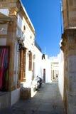 Rua da arquitetura das construções históricas de Lindos Rhodos Grécia Fotografia de Stock