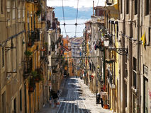 Rua da Bica 1. Lisbon's rua da bica, view down the street Stock Image