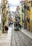 Rua da Bica (Bica Street) and its famous funicular, Lisbon, Portugal Stock Image