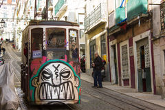 Rua da Bica (Bica Street) and its famous funicular, Lisbon, Portugal Stock Photo