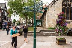 Rua da Chicote-Miliampère-Whop-Miliampère-porta York, Inglaterra Foto de Stock Royalty Free