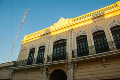 Rua da cidade, close-up da casa Merida yucatan méxico fotos de stock