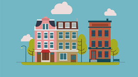 Rua da cidade com fachadas da casa, árvores e outros detalhes urbanos ilustração stock