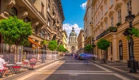 Rua da cidade de Budapest Fotografia de Stock