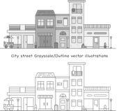 Rua da cidade no vetor do Grayscale ilustração stock