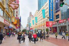Rua da compra de Shanghai dos povos, China Fotos de Stock