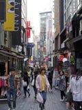 Rua da compra do Myeong-dong Fotografia de Stock Royalty Free