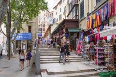 Rua da compra no centro de Palma de Majorca, ilha Majorca, Espanha Fotos de Stock Royalty Free