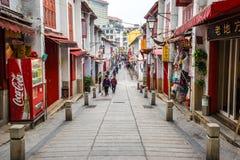 Rua da Felicidade (gata av lycka) i Macao Fotografering för Bildbyråer