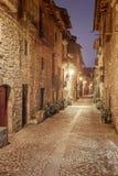 A rua da noite da vila medieval de Ainsa situou no Sp Fotografia de Stock Royalty Free