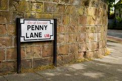 Rua da pista da moeda de um centavo em Liverpool, música de Beatles Imagens de Stock