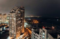 Rua da terraplenagem de Kiev, Ucrânia Obolon Imagens de Stock Royalty Free