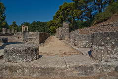 Rua das colunas, Olympia, Greece Fotografia de Stock