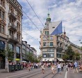 Rua de Bahnhofstrasse em Zurique Fotos de Stock