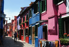 Rua de Burano Fotografia de Stock
