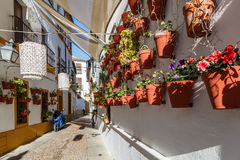 Rua de Córdova decorada com potenciômetros de flor Fotografia de Stock Royalty Free