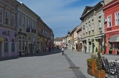 Rua de Dunavska, Novi Sad, Sérvia - 13 de março de 2018: opinião vazia da manhã Imagem de Stock Royalty Free