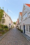 Rua de Gamle Stavanger (velho), Noruega Imagem de Stock Royalty Free
