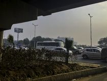 Rua de Gurgaon/Gurugram, Nova Deli foto de stock royalty free