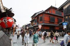 Rua de Hanami-Koji em Kyoto, Japão Imagens de Stock