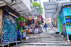Rua de Hong Kong Stone Slab Street Pottinger imagem de stock