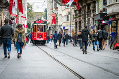 Rua de Istiklal, Istambul, Turquia Imagem de Stock