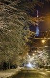 A rua de Lviv do inverno da noite e a tevê elevam-se, Ucrânia Imagem de Stock