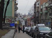 Rua de Mikhaylovskaya da cidade de Kiev fotografia de stock