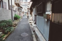 Rua de Nakazaki-cho em Osaka, Japão foto de stock