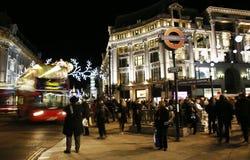 2013, rua de Oxford com decoração do Natal Fotografia de Stock Royalty Free