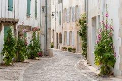 Rua de pedrinha autêntica, Saint Martin de Re, França imagens de stock