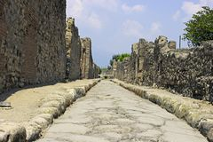 A rua de Pompeii. Fotografia de Stock Royalty Free
