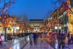 Rua de Qianmen, Beijing, China Foto de Stock Royalty Free