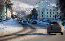 Rua de Sovetskaya na cidade de Zheleznogorsk Foto de Stock Royalty Free