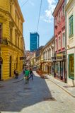 Rua de Zagreb Radiceva, capital da Croácia fotografia de stock royalty free